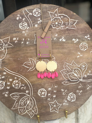 PF Gold with Pink Shells Earrings