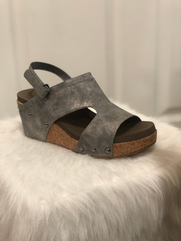 Mario Wedge Sandal -Pewter