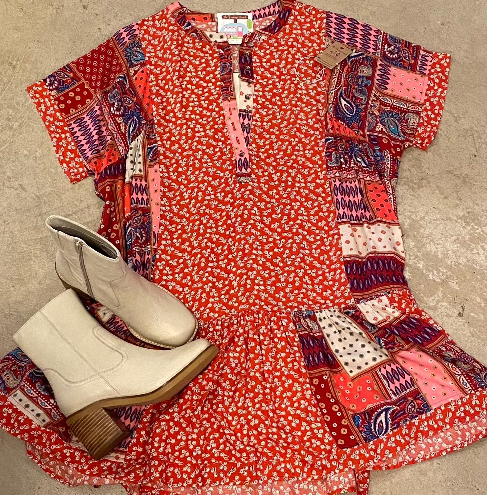 Short Sleeve Multi Dress