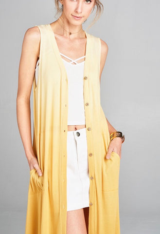 Ombre Sleeveless Long Cardigan