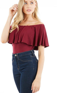 Off Shoulder Ruffle Bodysuit
