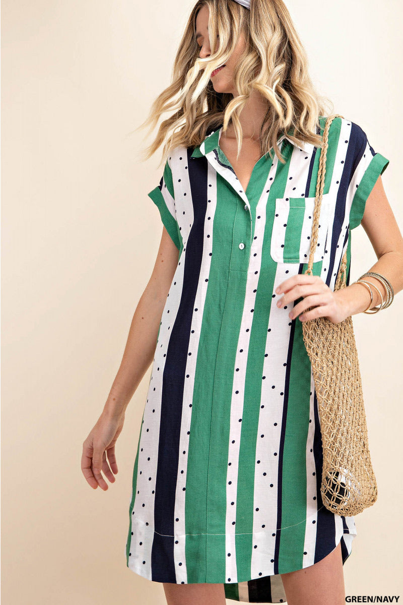 Dot & Stripe Shirt Dress