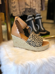 Roma Tan Leopard Wedge