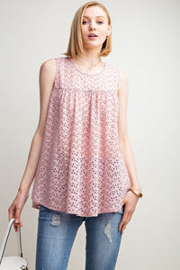 Washed Eyelet Lace Sleeveless Tunic