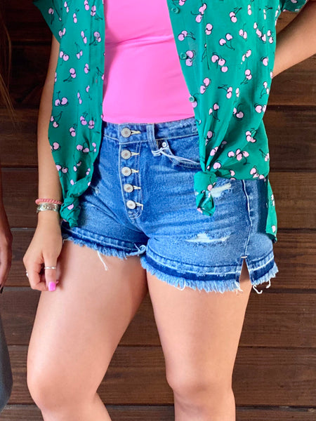 High Rise Button Fly Distressed Shorts