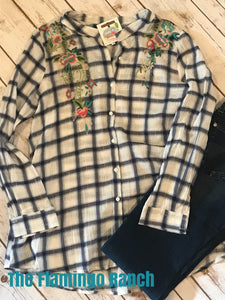 Navy Plaid with Floral Embroidery