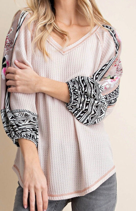 Oriental Printed Mixed Top