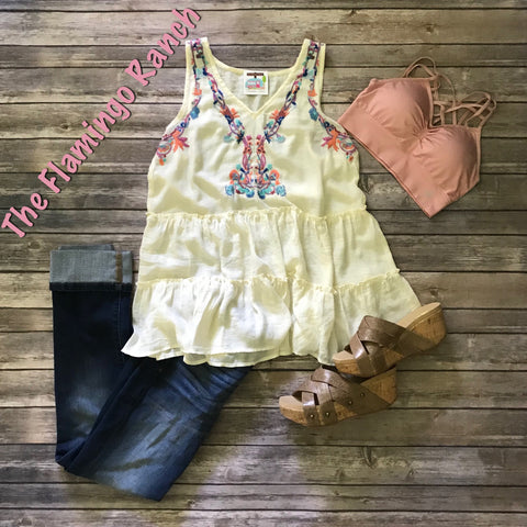 Embroidered Natural Tank