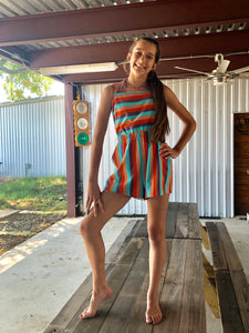 Striped Cut Out Back Romper