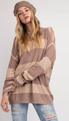 Striped Cold Shoulder Sweater