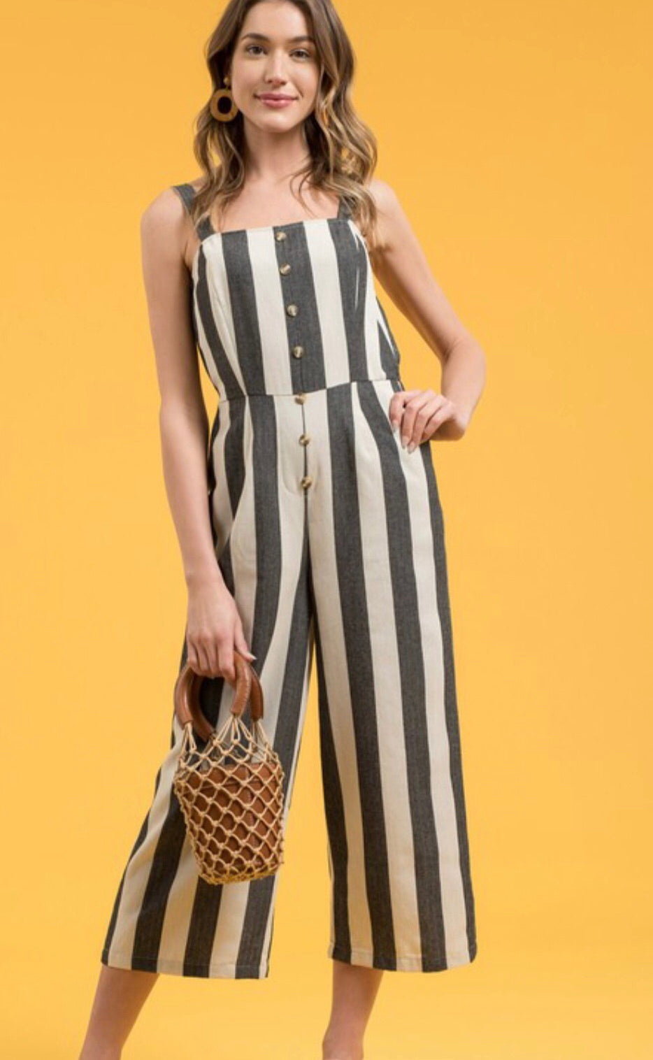 Button Down Cullote Jumpsuit