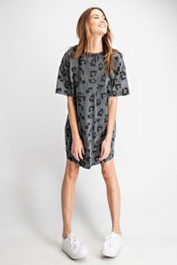 Leopard Print Loose Fit Tee Dress