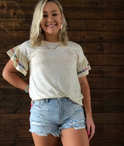 Ruffle Short Sleeve Embroidered Detail Top