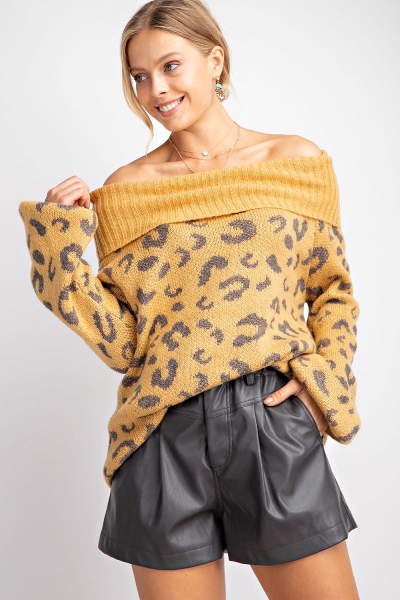 Leopard Off Shoulder Sweater