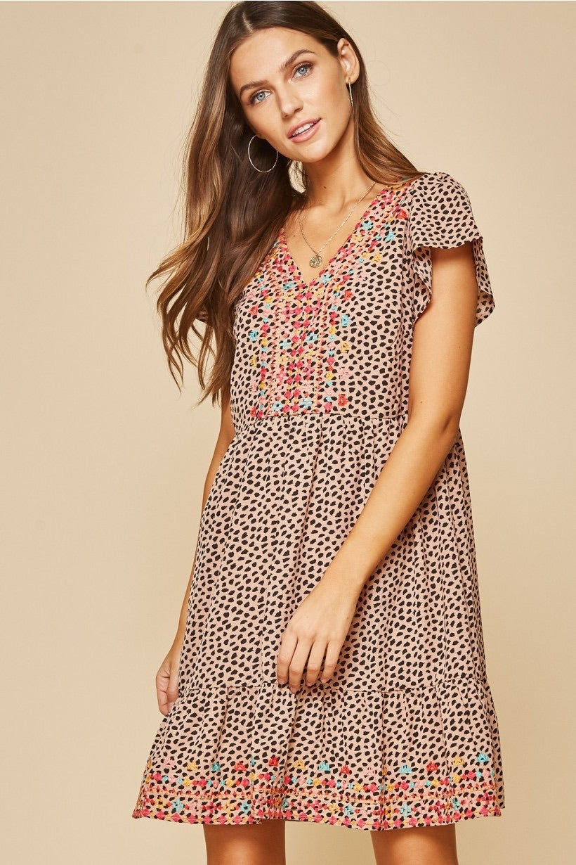 Embroidered Cheetah Dress