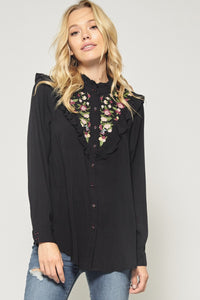 Black Embroidered Ruffle Button Up