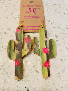 Leather Cactus w/ Pink Flower Earrings