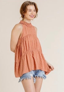 Sleeveless High Neck Dot Fabric Top