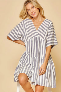 Stripe Babydoll V-neck Dress