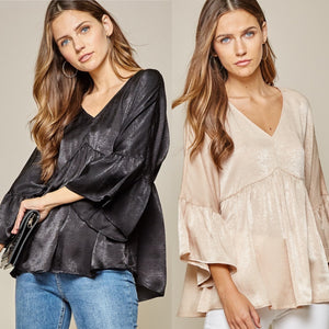 V-Neck Babydoll Shine Top