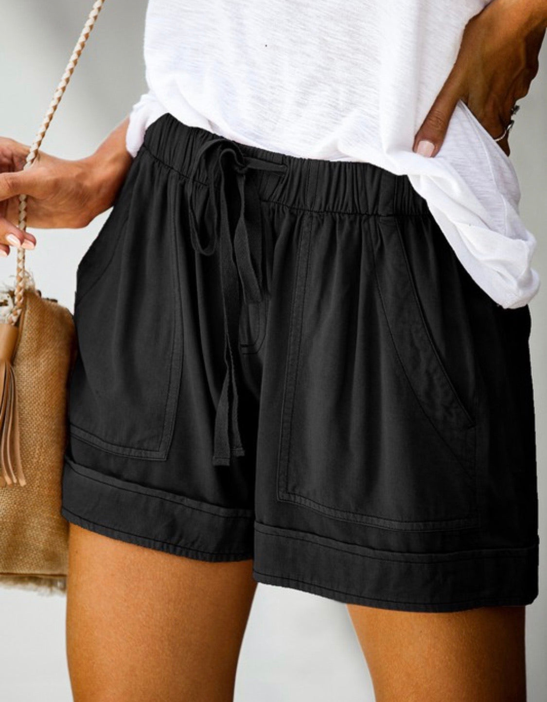 Drawstring Cotton Shorts