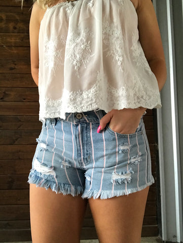 High Rise Stripe Shorts