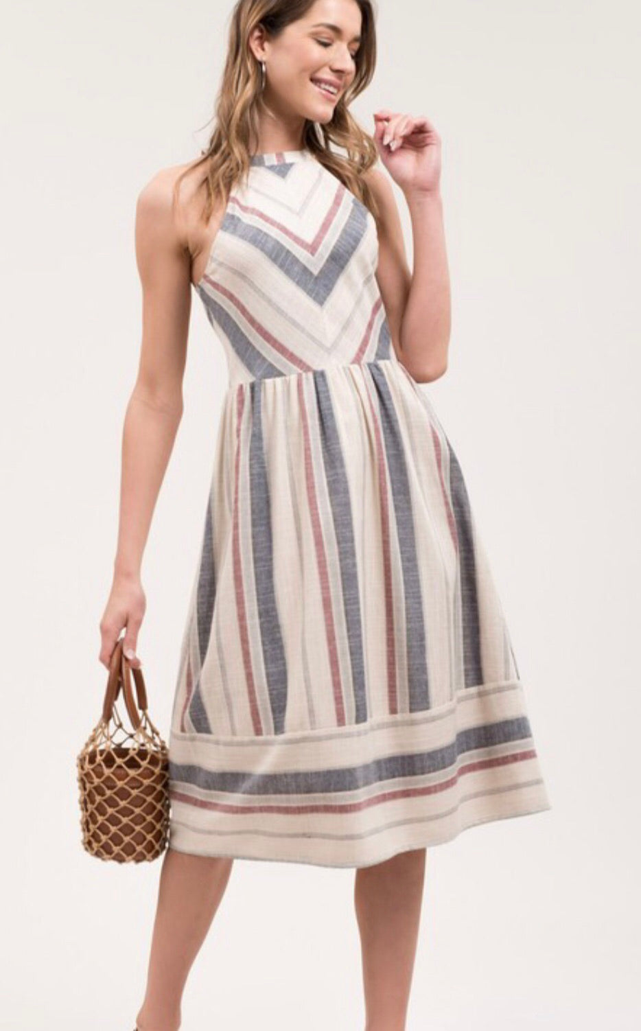 Halter Sleeveless Chevron Stripe Dress