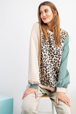 Color Block Animal Print Pullover