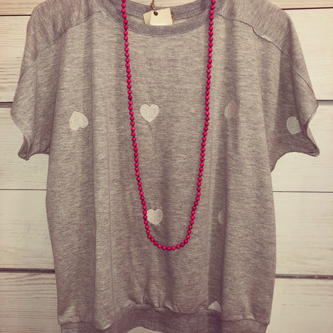 Short Sleeve Terry Knit w Hearts