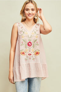 Mauve Embroidered Sleeveless