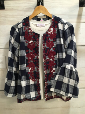 Flannel Bell Sleeve Jacket