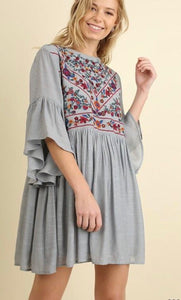 THE FLAMINGO RANCH Floral Emb Yoke Dress