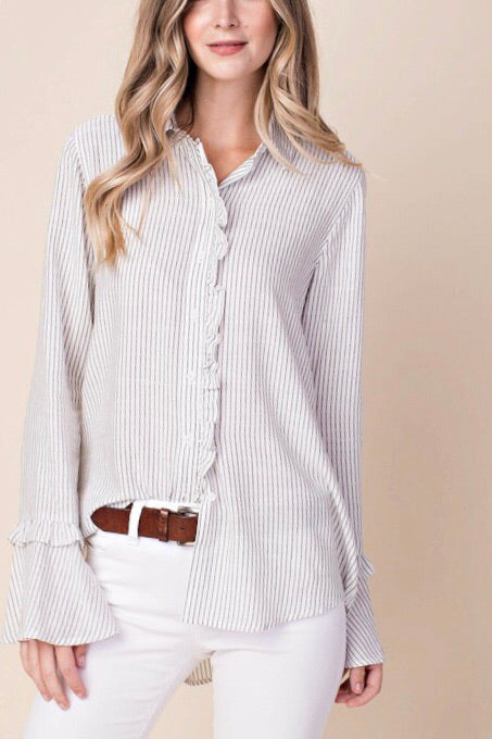 Striped Button Down w/ Ruffle Detail