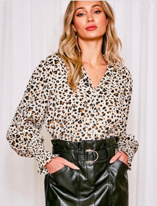 Button Up Collared Leopard