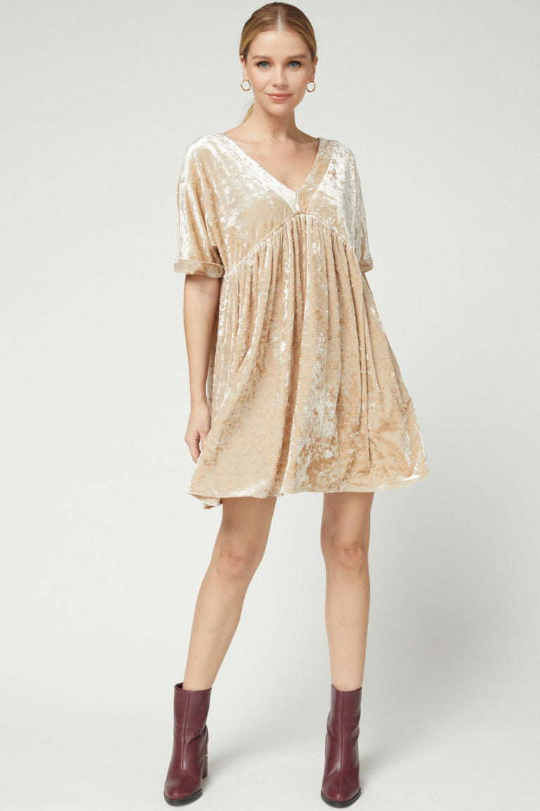 Crushed Velvet Babydoll Dress