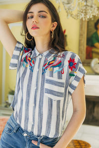 Embroidered Stripe Button Up Shirt