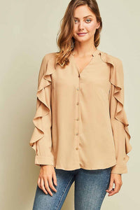 Button Up Ruffle Sleeve