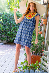 Printed Dress w/Emb Top