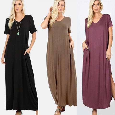 V-neck Short Sleeve Maxi Dress