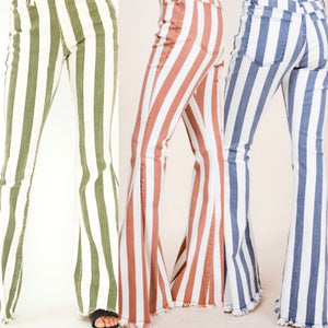 Striped Denim Flares