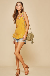 Emb Sleeveless Top w/Ruffle Detail