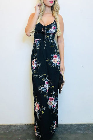 Floral Print Lace Up Maxi