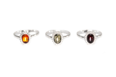Mini Cherry Red Amber Quintessence Ring