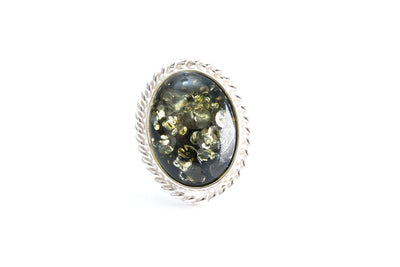 Green Amber Quintessence Statement Ring