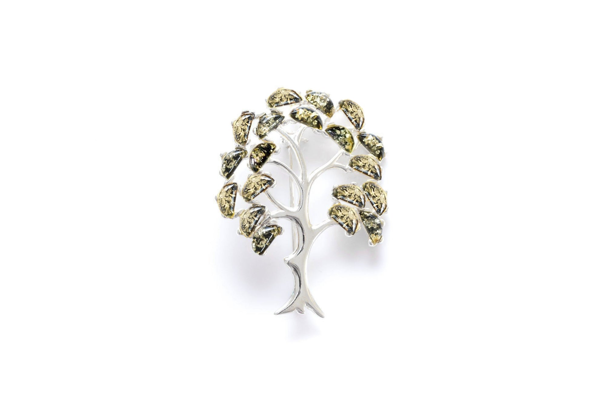 Green Amber Tree of Life Brooch