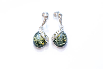 Green Celtic Amber Drop Earrings