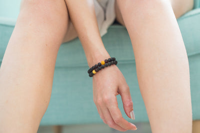 Matte Butterscotch-Accent Red Amber Bracelet