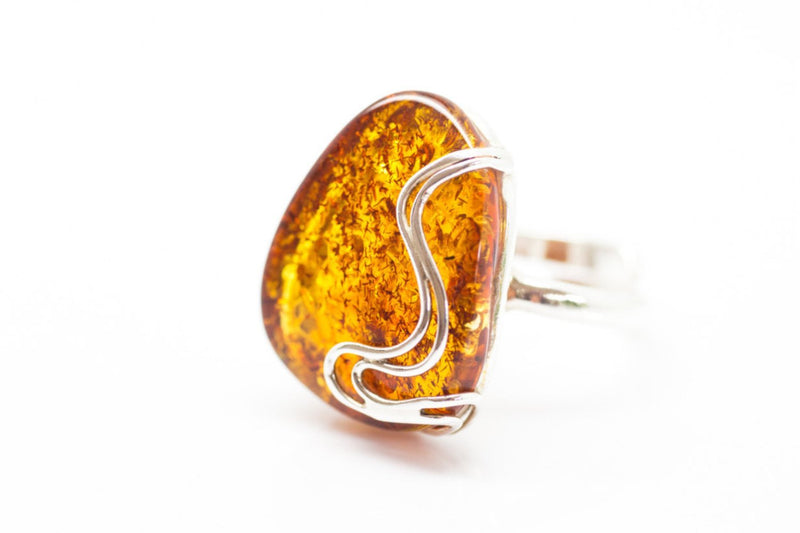 Baltic Beauty Rings Adjustable Large Amber Ring