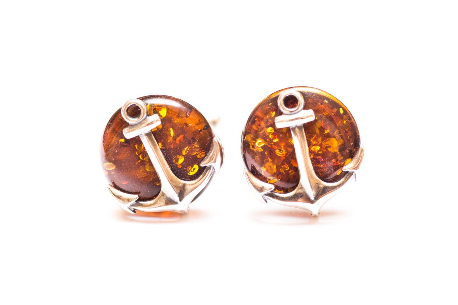 Baltic Beauty Cufflinks Amber Anchor Cufflinks
