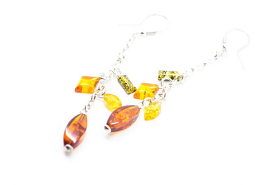 Baltic Beauty Earrings Amber Bead Dangle Earrings